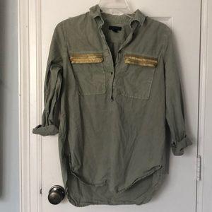 J Crew army green top
